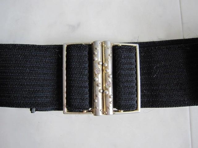 お洒落 ラバーベルト パーティー ベルト 黒 ドレス 幅5cm しっかり太め ドレス ベルト ゴールド バックル ブラック 伸縮性あり レア 特 得_画像8