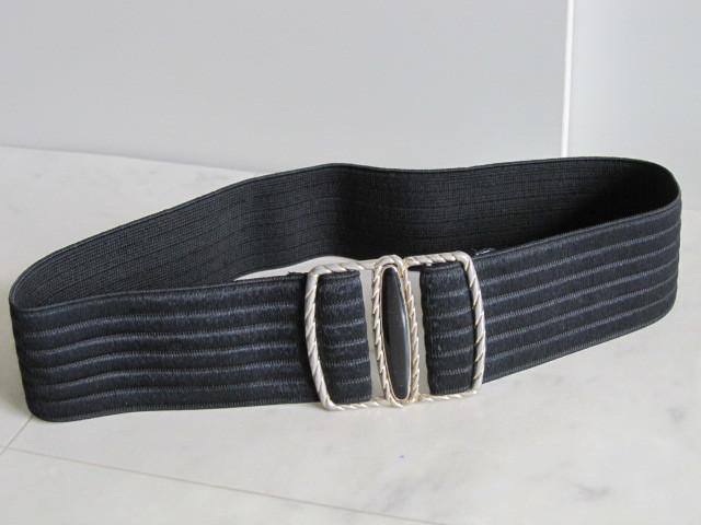 お洒落 ラバーベルト パーティー ベルト 黒 ドレス 幅5cm しっかり太め ドレス ベルト ゴールド バックル ブラック 伸縮性あり レア 得 特_画像1