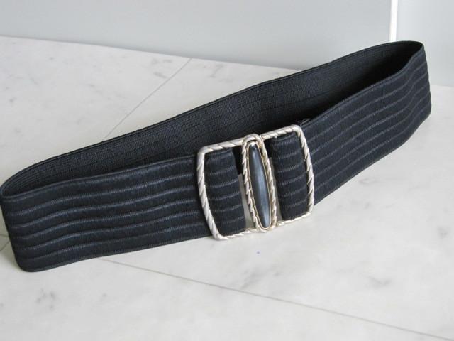お洒落 ラバーベルト パーティー ベルト 黒 ドレス 幅5cm しっかり太め ドレス ベルト ゴールド バックル ブラック 伸縮性あり レア 得 特_画像9