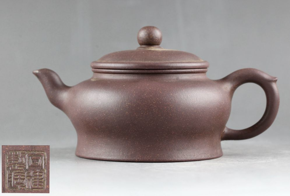 中国 唐物 宜興 紫砂 朱泥 梨皮 急須 水平壺/紫砂壺 在銘 煎茶道具._画像1
