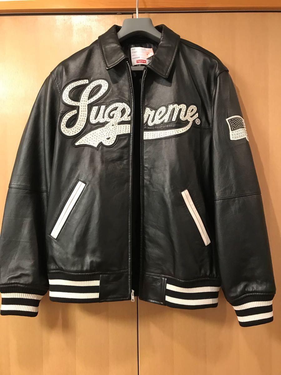 16SS supreme Uptown Studded Leather Varsity レザー ジャケット