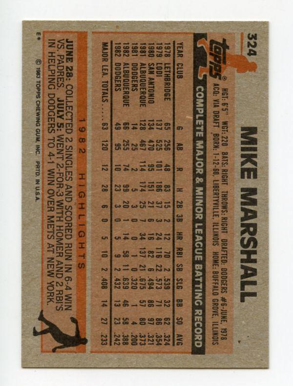 [MLB Card] MIKE MARSHALL 1983 Topps #324 - 来日外国人 マイク・マーシャル 日本ハム_画像2