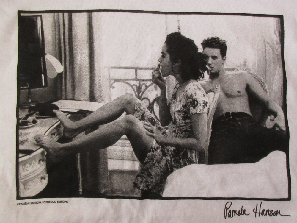 90's USA製 パメラ ハンソン FOTOFOLIO Lipstick フォト Tシャツ L 白 ホワイト Pamela Hanson 写真家 Girls写真 芸術 ART 現代美術 美術館_FOTOFOLIO製・Lipstick・フォト・Tシャツ