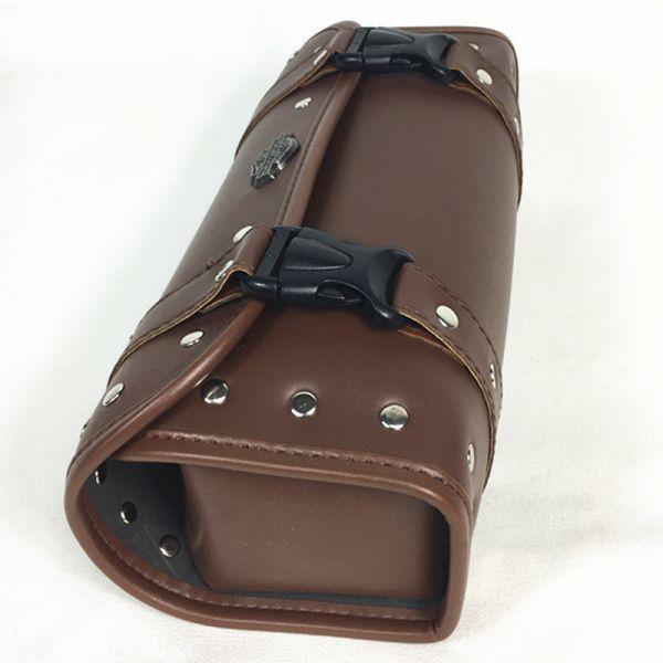 バイク用 ハーレー バック ツールバッグ ツーリング サイドバッグ ベルト付き ワンタッチ型 ブラウン_画像3