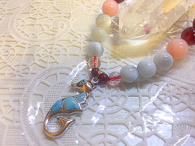 天然石ドミニカ共和国産『ラリマータツノオトシゴデザインブレスレット』2本セットお得価格ペアーリングの変わりにカップルブレスギフトに_女性ならではのお守りピンクオパールも、
