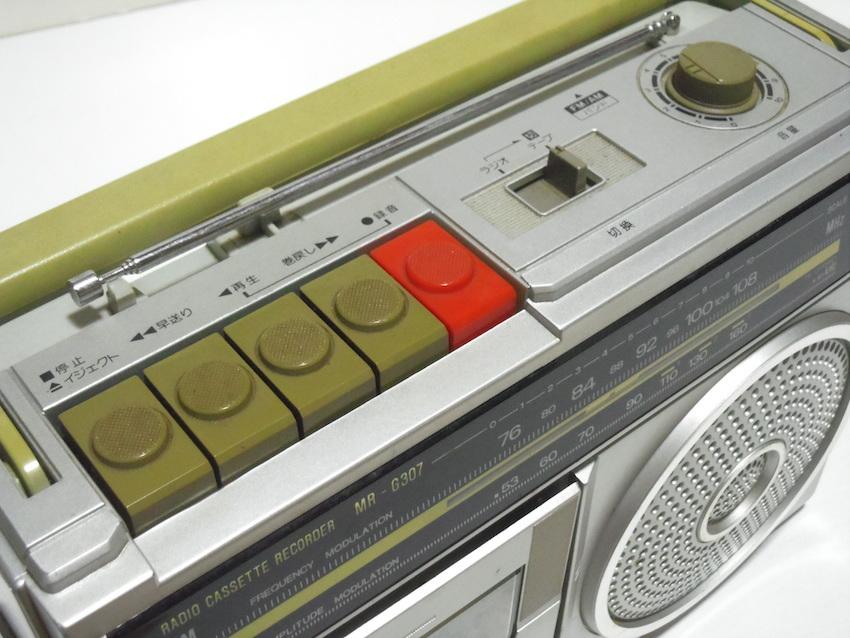 ■SANYO サンヨー カセットレコーダー MR-G307 ラジカセ FM AM ラジオ 箱付き 昭和レトロ ジャンク_画像4