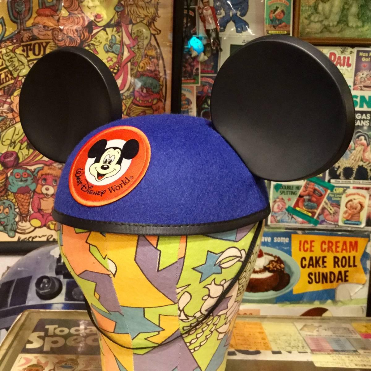 USA ディズニー ワールド 限定 ミッキーマウス イヤー ハット キャップ ブルー MICKEY MOUSE 耳付き 帽子 Disney World ディズニーランド _画像2