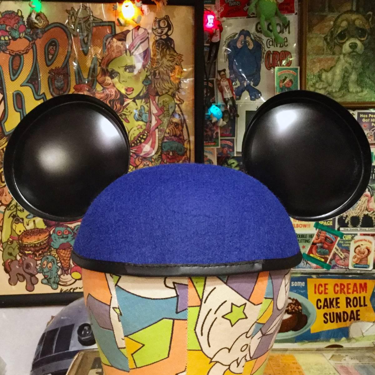 USA ディズニー ワールド 限定 ミッキーマウス イヤー ハット キャップ ブルー MICKEY MOUSE 耳付き 帽子 Disney World ディズニーランド _画像3