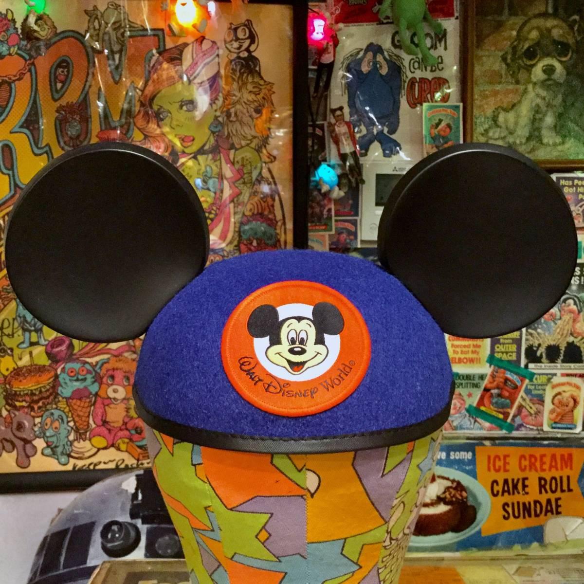 USA ディズニー ワールド 限定 ミッキーマウス イヤー ハット キャップ ブルー MICKEY MOUSE 耳付き 帽子 Disney World ディズニーランド _画像1