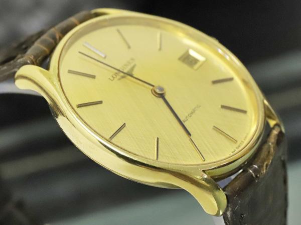 超美品 ロンジン LONGINES 金無垢 K18 イエローゴールド オートマチック ツインバレル 自動巻紳士腕時計 メンズウォッチ 本物 正規_画像5