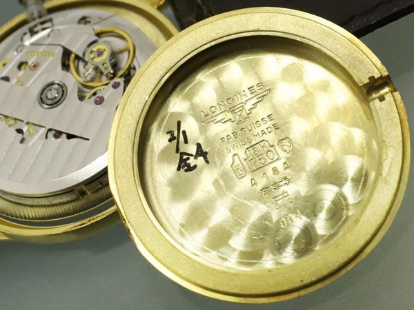 超美品 ロンジン LONGINES 金無垢 K18 イエローゴールド オートマチック ツインバレル 自動巻紳士腕時計 メンズウォッチ 本物 正規_画像8