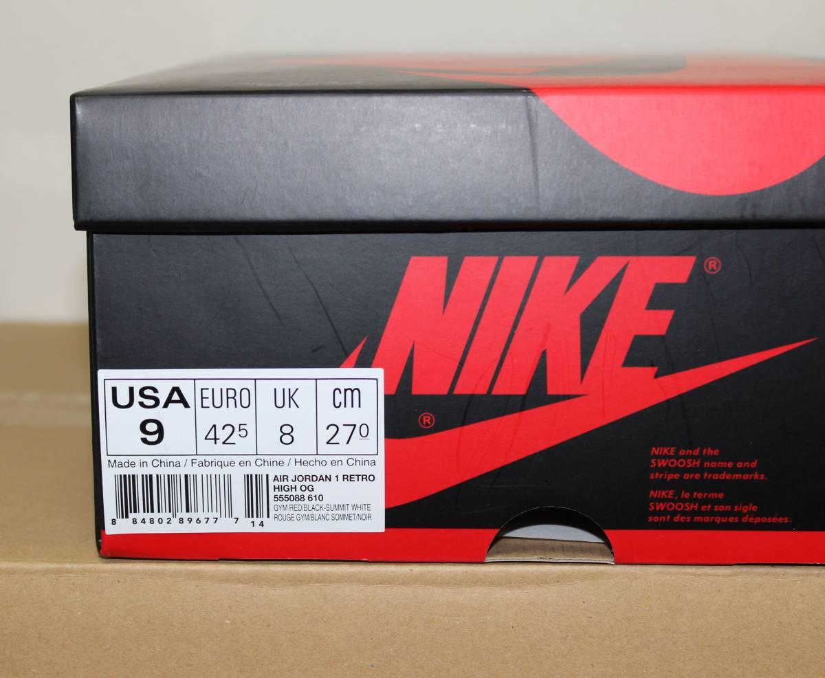 Nike Air Jordan 1 Retro High OG BRED TOE US9 JP27cm 555088-610 ブレッド エアジョーダン1 AJ1_画像2