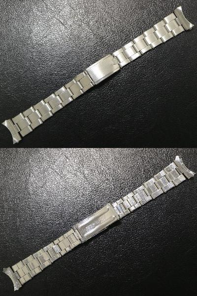【19.8㎜ シルバー 弓かん】 リベット ブレス 1960's SS 3連 ビンテージ 腕時計 ベルト バンド オイスター / ロレックスやオメガなどに!_画像2