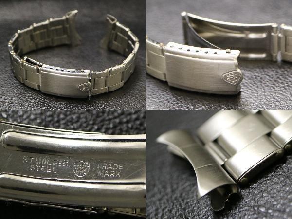 【19.8㎜ シルバー 弓かん】 リベット ブレス 1960's SS 3連 ビンテージ 腕時計 ベルト バンド オイスター / ロレックスやオメガなどに!_画像3