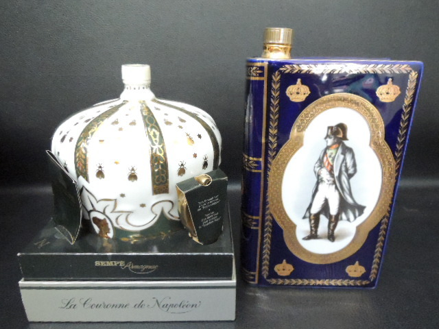 古酒 CAMUS カミュ ブック / SEMPE サンペ 王冠 クラウン ナポレオン 陶器ボトル 2点セット リモージュ 未開栓_画像2