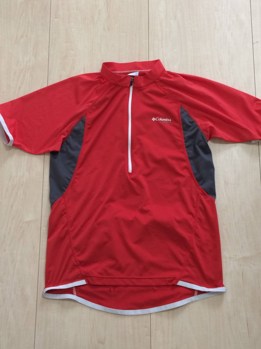 d23cfc44b4d Colombia Columbia cycle jersey cycle wear L bicycle road bike men s red RED  cycling shirt half Zip