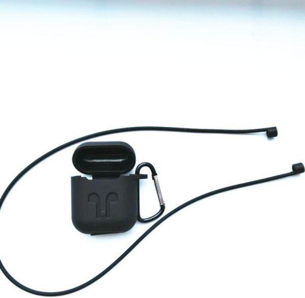 AirPods ケース エアーポッズカバー スポーツストラップ付きシリコンスキンケース Apple 黒_画像1