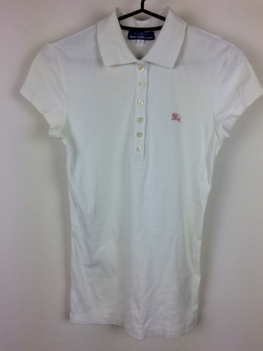 Burberry Blue Label Polo Shirt With Short Sleeves White Size 38