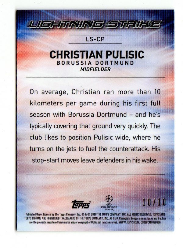 10/10!!【CHRISTIAN PULISIC/DORTMUND】2017-18 Topps Chrome UEFA Champions League LIGHTNING STRIKE RED REFRACTOR USA JSY NO 2018_画像2