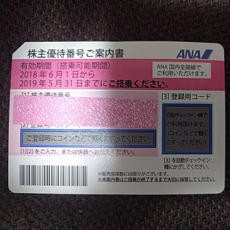 ANA株主優待券 2018年6月1日から2019年5月31日