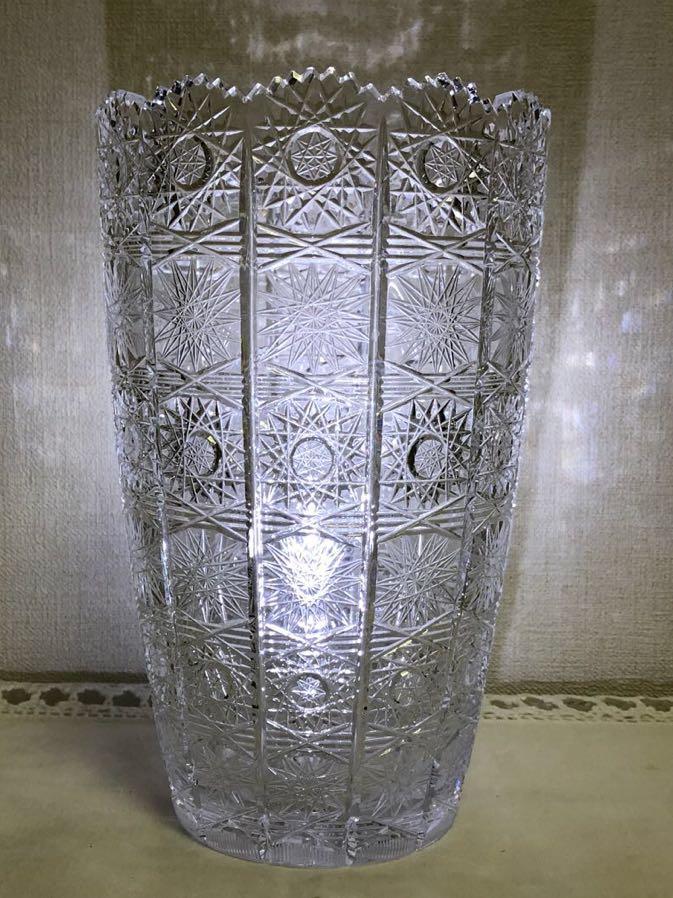 ボヘミアクリスタルガラス 花瓶 72カット_画像1