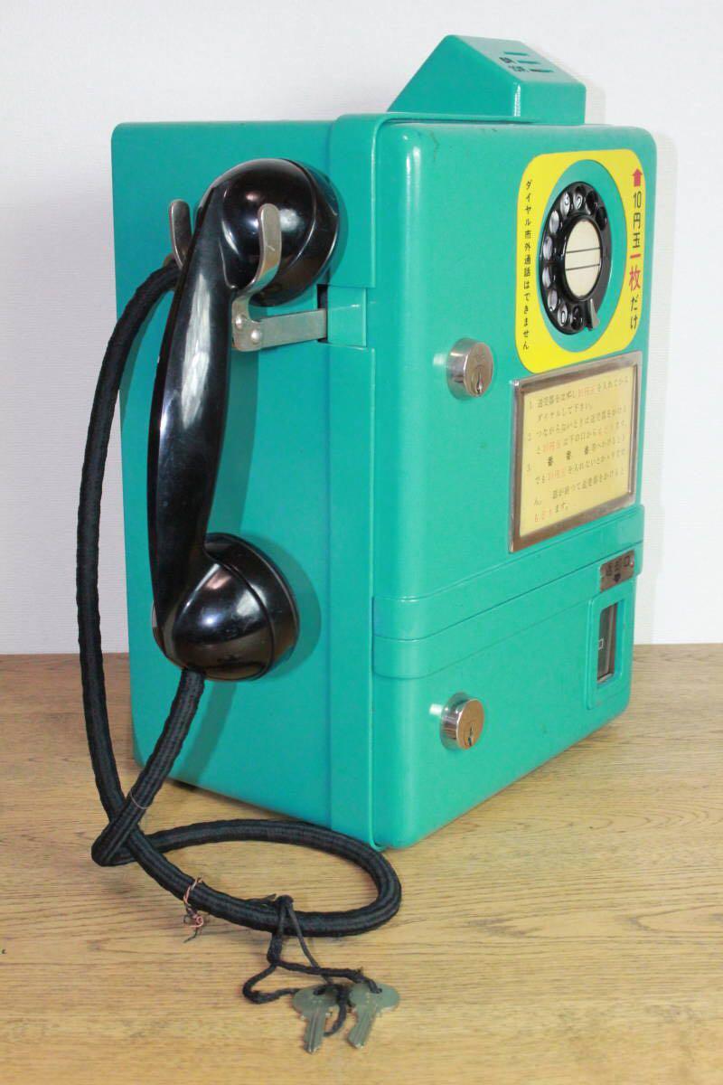 ボックス用 公衆電話機 青 5号A型 安立電気株式会社 昭和37年製造 鍵付き/青色公衆電話機 ボックス公衆電話機 初代電話ボックス用公衆電話_画像3