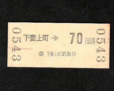 ●JRバス乗車券「下妻上町から70円区間」(62.5.5)●_画像2