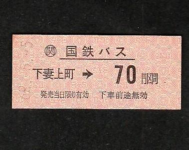 ●JRバス乗車券「下妻上町から70円区間」(62.5.5)●