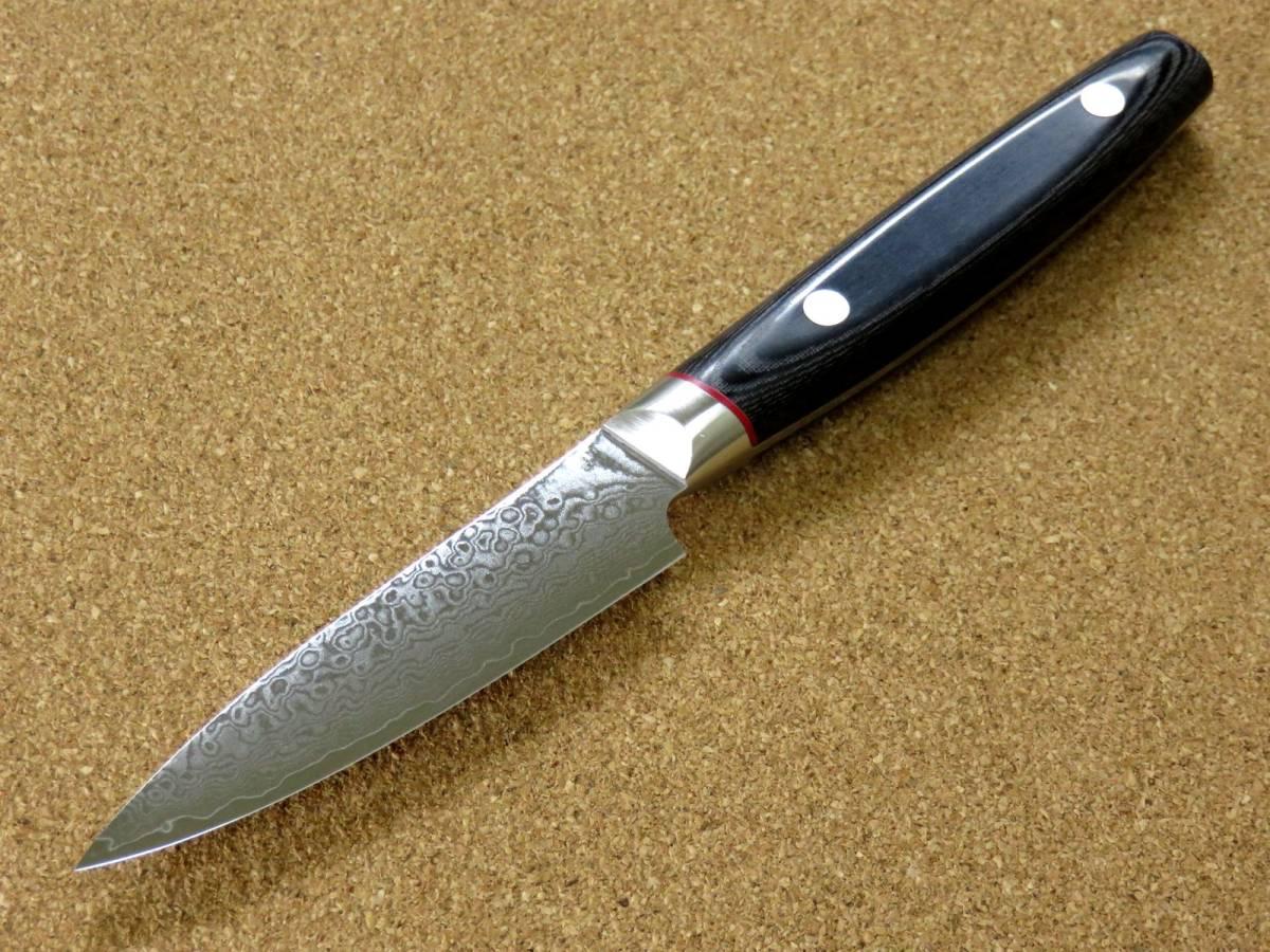 関の刃物 パーリングナイフ 9cm (90mm) 彩雲 VG10 ダマスカス鋼 33層 果物を剥く 種子を除去 細かく複雑な作業 両刃の小型包丁 日本製_画像4