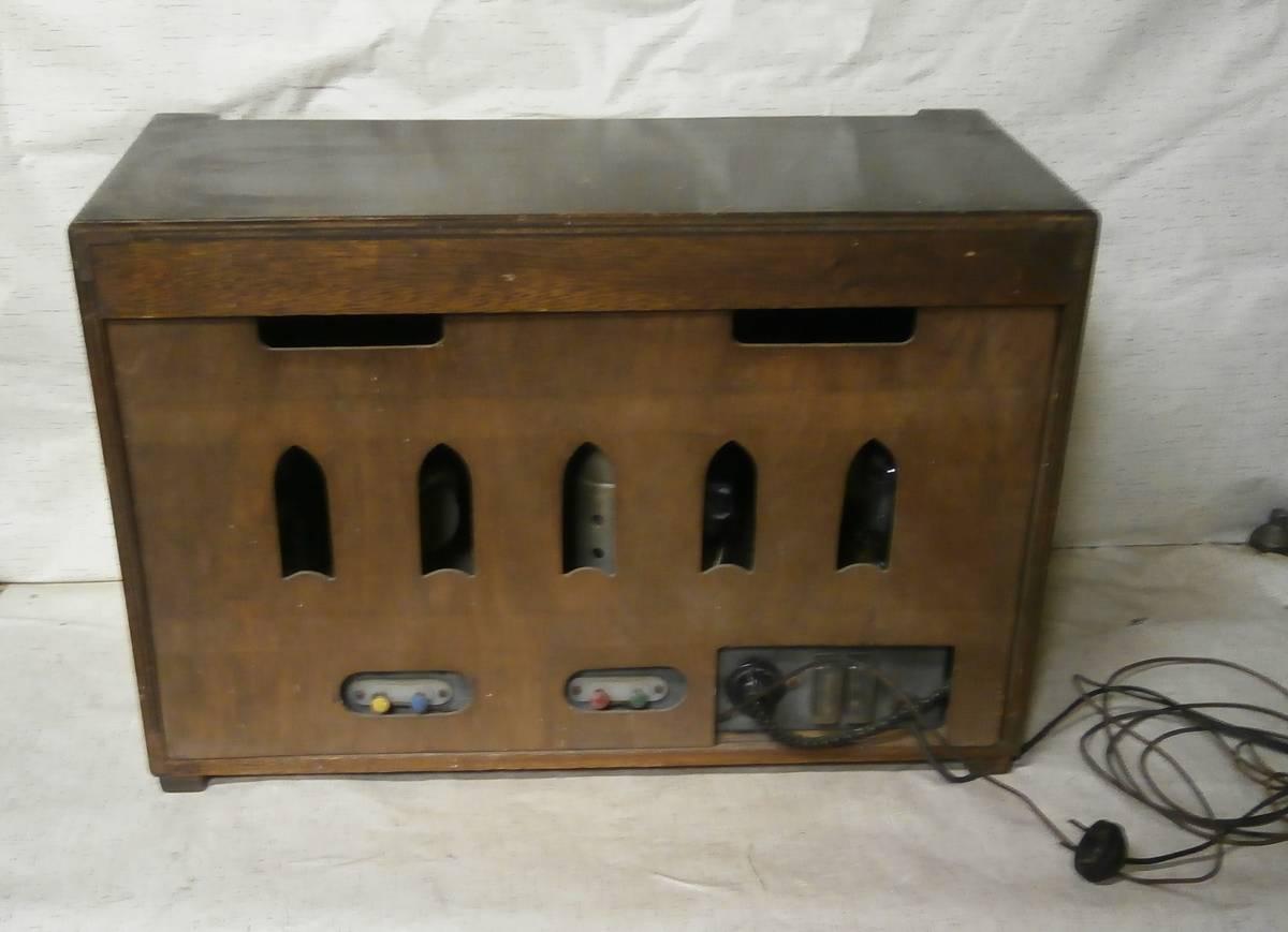 ハーモニー (薄井木工製作所) SW/MW 真空管ラジオ 6球 マジックアイ付 3連バリコン ジャンク_画像3
