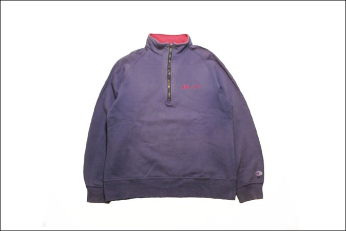 【LARGE】 90's Champion チャンピオン スウェット ハーフジップ USA製 紫 ビンテージ ヴィンテージ 古着 オールド TM72_画像1
