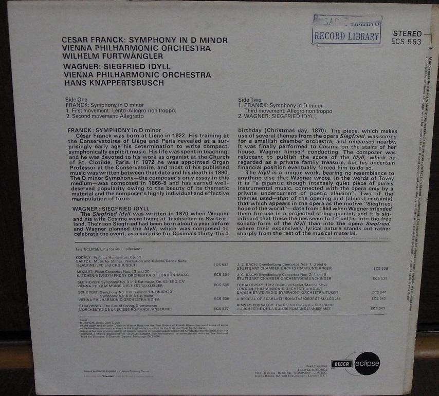 【英デッカ LP盤】フルトヴェングラーのフランク交響曲 エクリプス盤_画像2