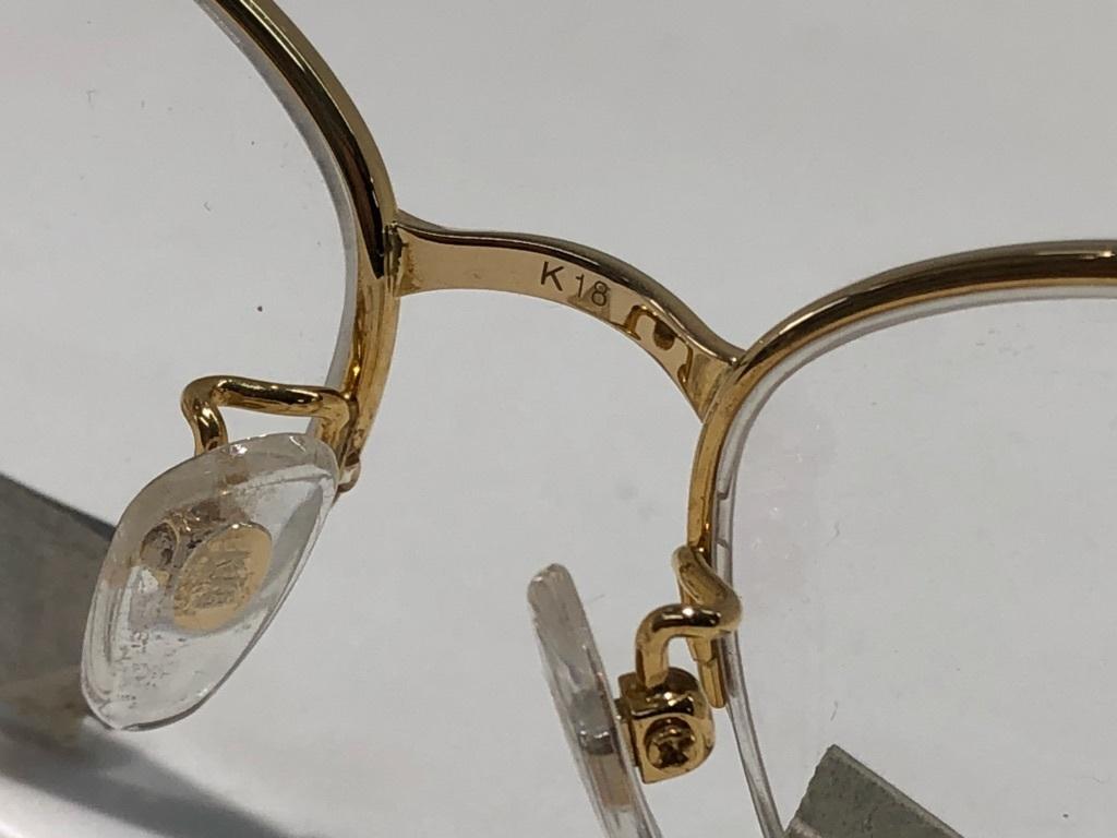S3 即決 K18 無垢メガネフレーム 女性用 ナイロール レディース 未使用 展示品 18金 刻印 めがね 眼鏡 送料無料 値下げ交渉 0300_画像5
