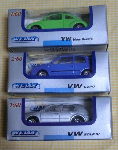 1/60 WELLY フォルクスワーゲン3種 Volks Wagen New Beatle LUPO GOLF4 ミニカー 外車 メタル ダイキャスト 未開封箱内側よごれ ウエリー_画像1