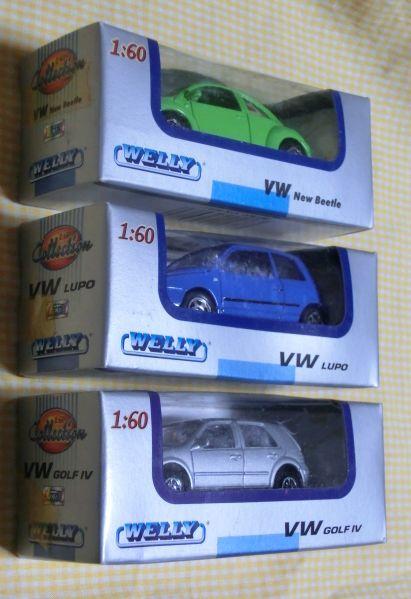1/60 WELLY フォルクスワーゲン3種 Volks Wagen New Beatle LUPO GOLF4 ミニカー 外車 メタル ダイキャスト 未開封箱内側よごれ ウエリー_画像5