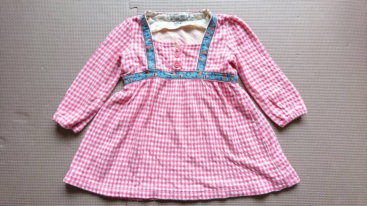 1024e9128072d 代購代標第一品牌- 樂淘letao - 90cm ピンク系チェック柄長袖ワンピースチロリアンテープチュニック女の子キッズ
