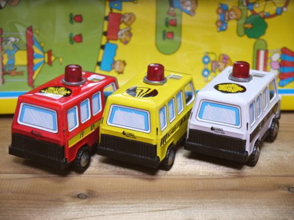 当時物 緊急 自動車シリーズ プレーイング ブリキ 日本製 昭和レトロ ミニカー ビンテージ レア パトカー 消防車_画像2