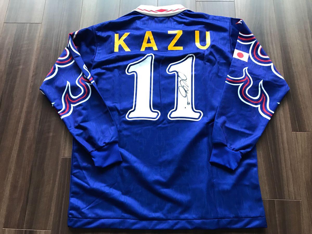 96 日本代表長袖ユニフォーム #11 三浦知良 選手用 サイン入り_画像1