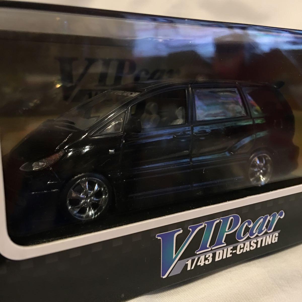 アオシマ 1/43 FABULOUS ACR MCR トヨタ エスティマ ブラック ミニカー ファブレス エアロ ホイール カスタム モデルカー 黒色 ESTIMA_画像1