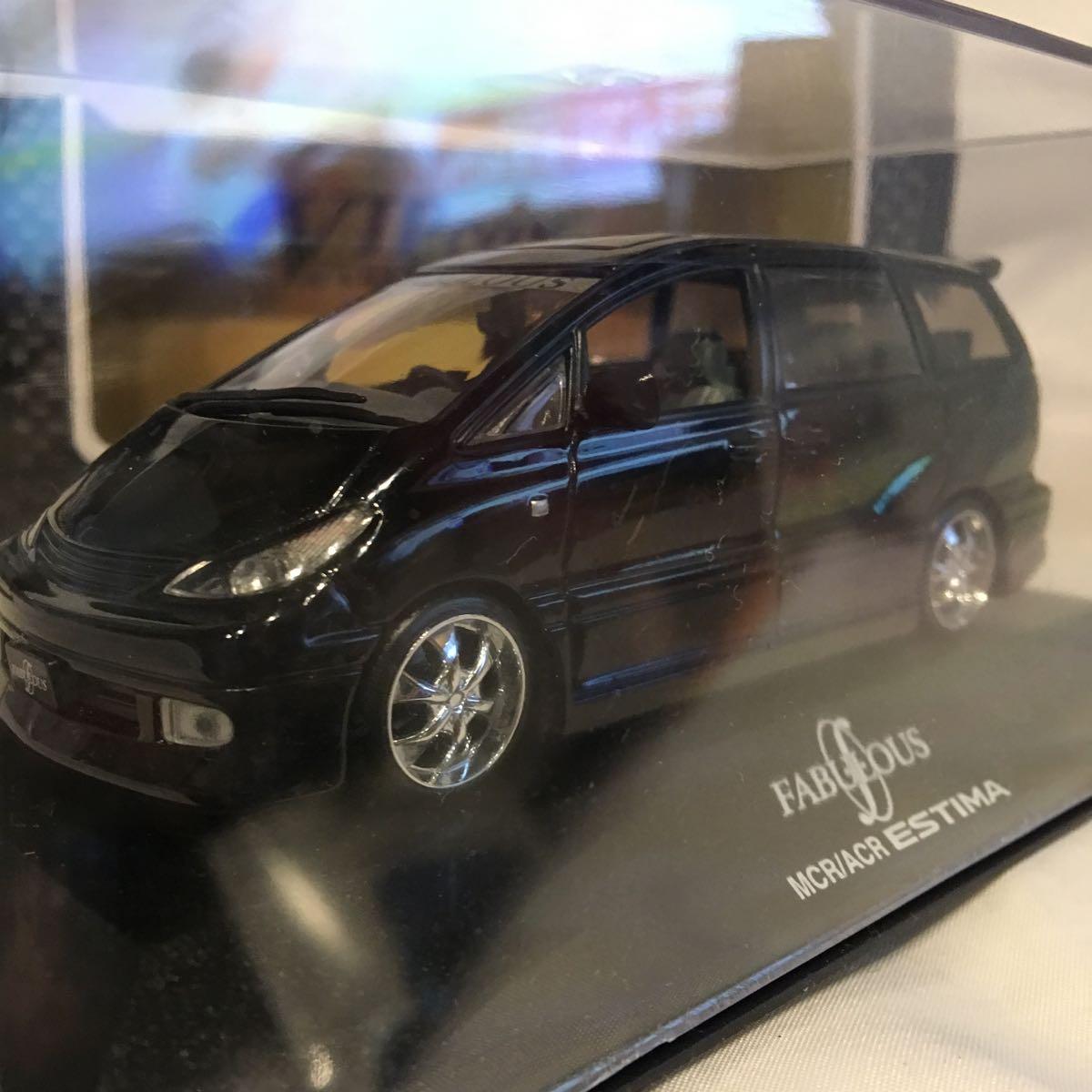 アオシマ 1/43 FABULOUS ACR MCR トヨタ エスティマ ブラック ミニカー ファブレス エアロ ホイール カスタム モデルカー 黒色 ESTIMA_画像7