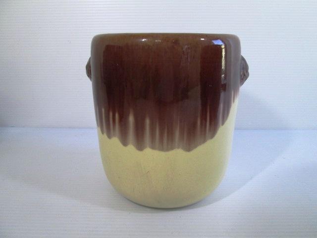 【お買い得品】 ★ 小型火鉢 ★ 陶器製 小型火鉢 白&茶 高さ:18㎝ 灰入り
