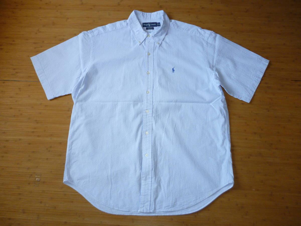 ☆ラルフローレン 半袖BDシャツ シアサッカーストライプ柄/白×ライトブルー サイズLL 中古良品!送料200円/ボタンダウン/クールビズ