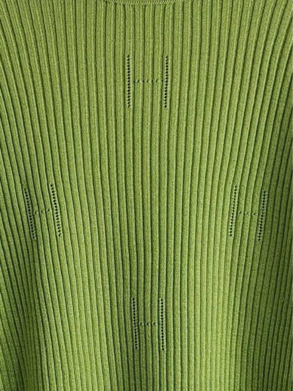 (G) HERMES エルメス レディース グリーン ロゴ柄 タートルネック 長袖 ニット セーター トップス XL表記_画像4