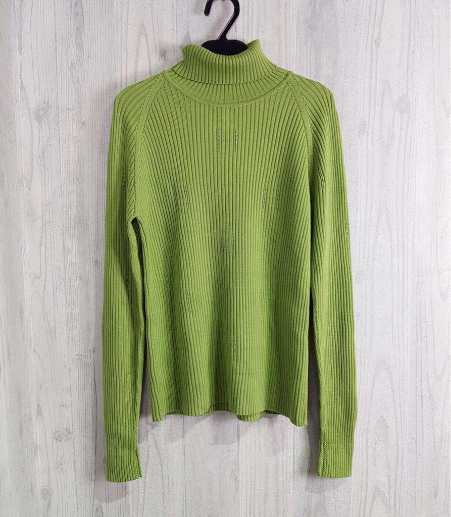 (G) HERMES エルメス レディース グリーン ロゴ柄 タートルネック 長袖 ニット セーター トップス XL表記_画像1