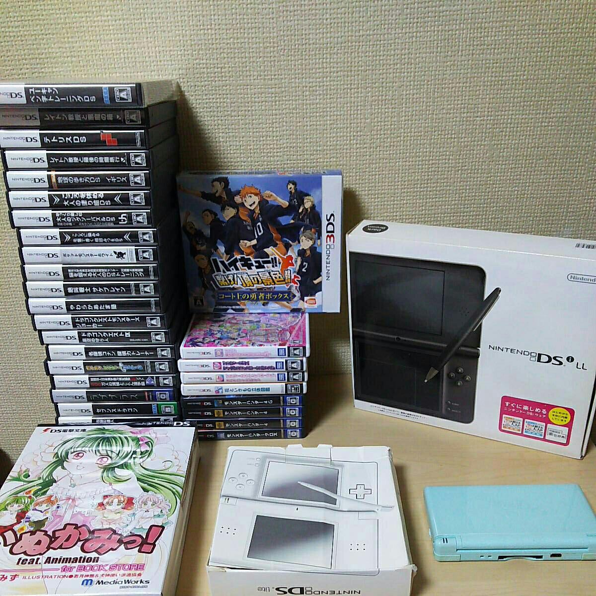 任天堂 DS本体3点+DS.3DSソフト31本セット/いぬかみっ!/ハイキュー/モンスターハンター/DQM/ラブプラス/テトリス/プリパラポケモン