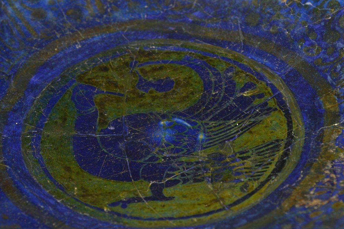 【 ペルシャ陶器 藍釉ラスター彩鳥唐草文皿 12世紀頃 加藤卓男 識箱 メトロポリタン美術館 書簡付】_画像2
