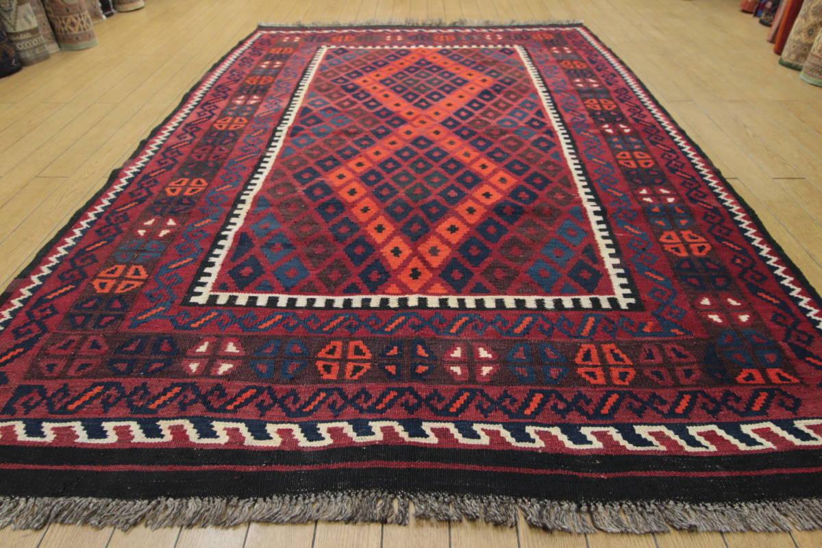 FINEクオリティ アフガニスタン トライバルラグ マイマナキリム 手織りオールドキリム テキスタイルインテリア 138x206cm/GH920