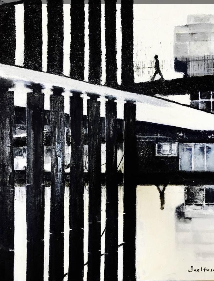 ◆真作◆True work 油絵 oil painting 画家Jan Hasu 「Black -and...」