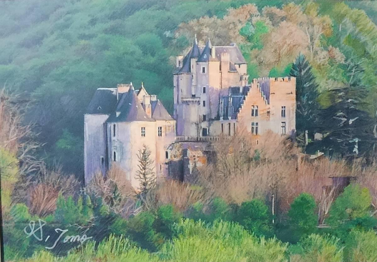 『作品285 フェイラック城(フランス)』 S.Tomo氏直筆色鉛筆画 超美品 世界の風景画 新品額装
