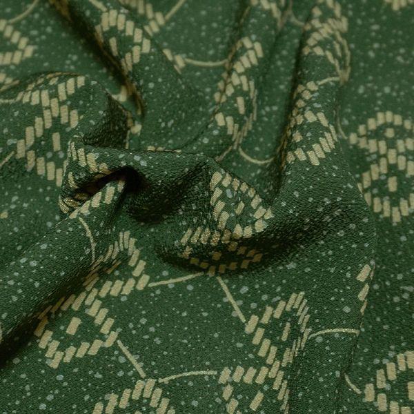 【着物のNext】 0832 L寸 単衣仕立て あられ文様 化繊 ポリ 洗える小紋 緑系 美品_画像4